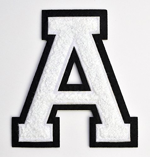 Varsity Letter Patches - White Embroidered Chenille Letterman Patch - 4 1/2 inch Iron-On Letter Initials (White, Letter A Patch)