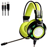 Computer Headphones for PC Games Green Gaming Headset USB 3.5mm Noise Isolation Over Ear Nubwo Skin-friendly Earpads Led Light & In-line Volume Control for PC Computer Gamer,Mac,Laptop