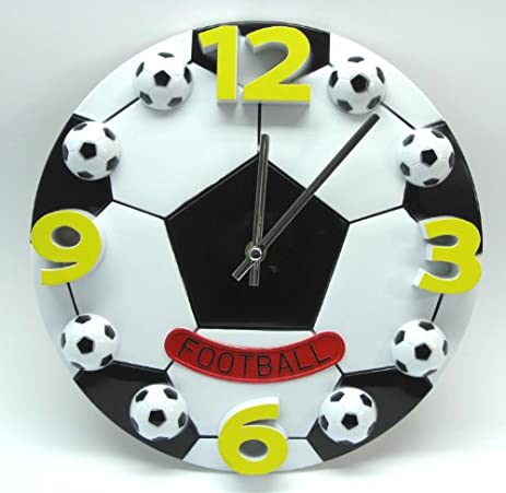 Amazon.com: 12 Inch creative football wall clock boys bedroom wall ...