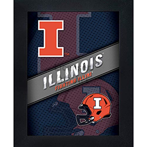 Illinois Fighting Illini 3D Poster Wall Art Decor Framed Print | 14.5x18.5 | UI Lenticular Posters & Pictures | Gifts for Guys & Girls College Dorm Room | NCAA Sports - Dorm Illinois Fighting Illini