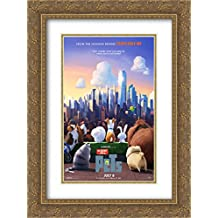 The Secret Life of Pets 18x24 Double Matted Gold Ornate Framed Movie Poster Art Print