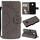 Galaxy J2 Pro 2018 Floral Wallet Case,Galaxy J2 Pro 2018 Strap Flip Case,Leecase Embossed Totem Flower Design Pu Leather Bookstyle Stand Flip Case for Samsung Galaxy J2 Pro 2018-Grey