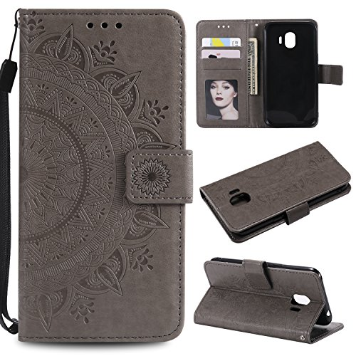 Galaxy J2 Pro 2018 Floral Wallet Case,Galaxy J2 Pro 2018 Strap Flip Case,Leecase Embossed Totem Flower Design Pu Leather Bookstyle Stand Flip Case for Samsung Galaxy J2 Pro 2018-Grey by Leecase