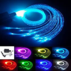 16W RGBW Fiber Optic Curtain Light Kit, Flash Point Waterfall Effect Lighting Kids Children Sensory Room Home Decoration 0.03in/0.75mm 9.8ft/3m 300pcs