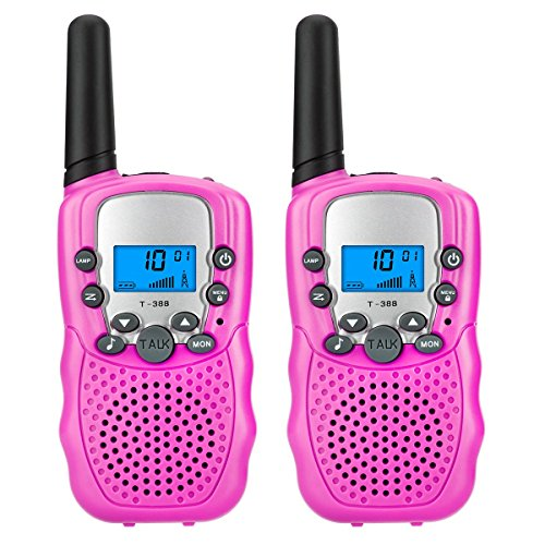 Walkie talkies for kids by KeenWiz ,2pcs pink small Walkie Talkies 2 Way Radio 22 Channel long range