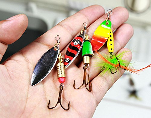 10pcs fishing lure spinners bass trout salmon hard metal for Amazon fishing spinners