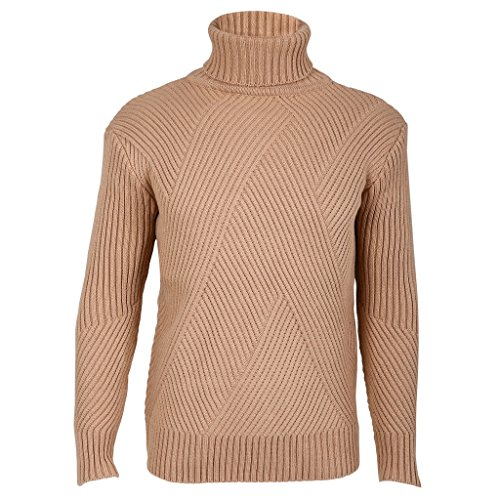 Fluorodine Turtleneck Sweaters for Juniors Long Sleeve Knitted Textured Pullover Khaki L (Tan Turtleneck Sweater)