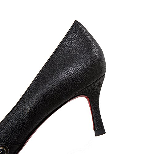 Elegant Stiletto Heel Seven Nine Handmade Dressy Black Leather Women's Genuine Pumps Shoes Trendy Pointed Toe wS4HqP4x