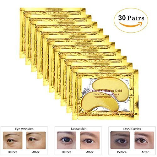 Rotus 30 Pairs Gold Eye Mask Power Crystal Gel Collagen Masks, Great For Anti Aging, Dark Circles & Puffiness from Rotus