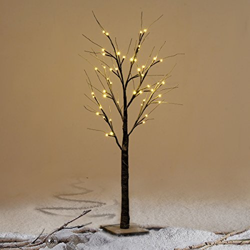 Furinho Bush - 4FT 48LED Christmas Xmas Brown Birch Snow Tree LED Light Warm Decorative Festival Party YRS 1152 by Furinho Bush
