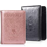 Travel Wallet Leather Passport Holder Cover Set of 2,Passport Cover Protector with RFID Blocking,Traveling Wallet for Passport, Card, Cash for Men and Women(Black + Rose Gold)