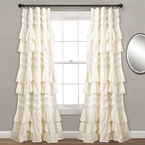 "Lush Decor, Ivory Kemmy Window Curtain Sing Panel, 84"" x 52"""