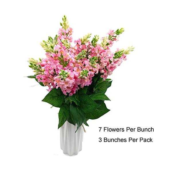 Artificial Fake Flowers Silk Plastic Plant Arrangement for Home Indoor Outdoor Garden Wedding Table Vase Decorations Faux Snapdragon Flower,3 Bouquets (Pink)