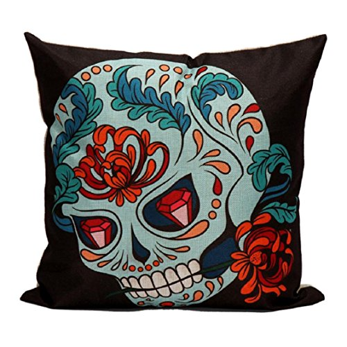 [Lookatool Skull Pillow Case Sofa Waist Throw Cushion Cover Home Decor (45cm45cm/17.717.7