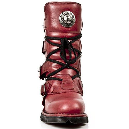 New Rock - Botas de cuero para mujer Red