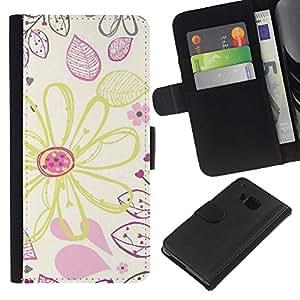 iBinBang / Flip Funda de Cuero Case Cover - Drawing Wallpaper Crayon Art - HTC One M9