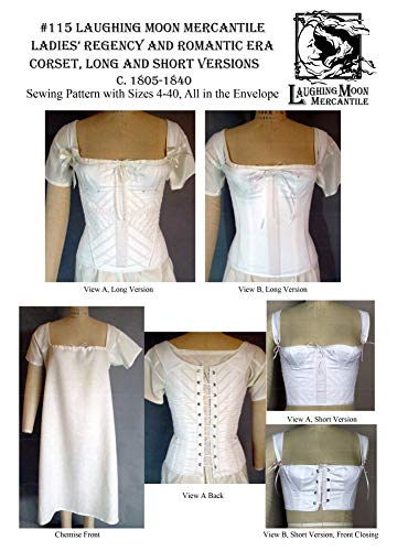 (1805-1840 Ladies Regency and Romantic Era Corded Corset with Theatrical Version Corset and Chemise Pattern)