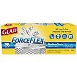 Glad ForceFlex Medium Quick-Tie Trash Bags, 26 Count per Pack - 12 per case.