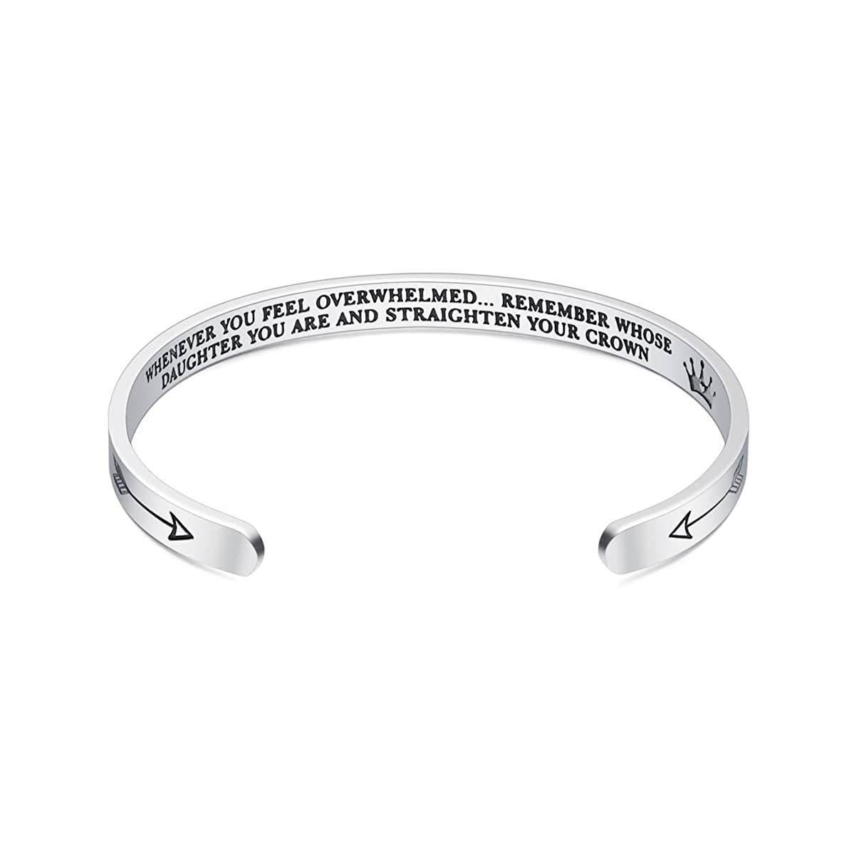 Smile Way Whenever You Feel Overwhelmed Remember Whose Daughter You are and Straighten Your Crown Cuff Bracelet for Women Daughter Teen Girls