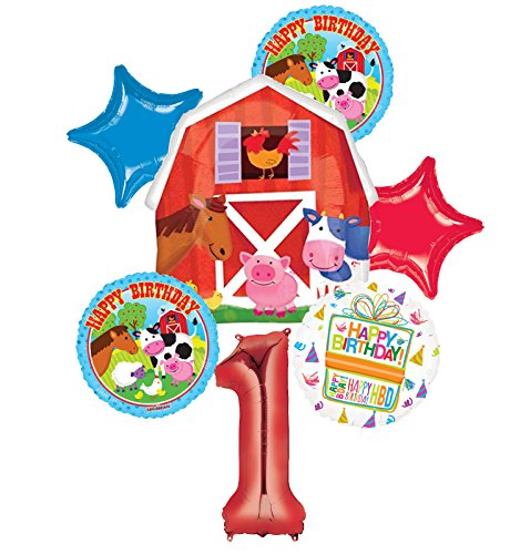 Mayflower Products Farm Animal 1st Birthday Party Supplies and Barn Balloon Bouquet Decorations