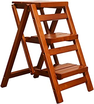 LXF Escaleras plegables Escalera Plegable De Madera De 3 Niveles for Cocina, Escalera De Mano Multifunción Ensanchada Portátil, Sillas De Taburete De Seguridad Antideslizantes, Carga Máxima 80 Kg: Amazon.es: Bricolaje y herramientas