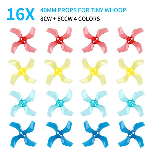 16pcs 40mm 4-Blade Props Tiny Whoop Four-Blade Propellers 1636 Props for Mobula 7 Kingkong/LDARC Tiny R7 7/7X Inductrix FPV Plus RC Drone FPV Quadcopter