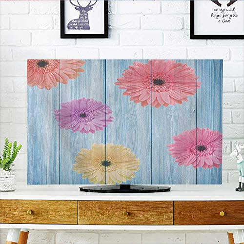 Roll Calendula - L-QN Cover for Wall Mount tv Calendula Florets Plants Wooden Rustic Board Spring Seas Inspired Display Cover Mount tv W36 x H60 INCH/TV 65
