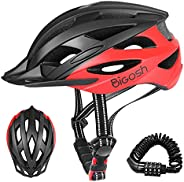 BiGosh Specialized Bike Helmet, Bicycle Helmet with Helmet Accessories-Removable Visor/Portable Bag Cycling He