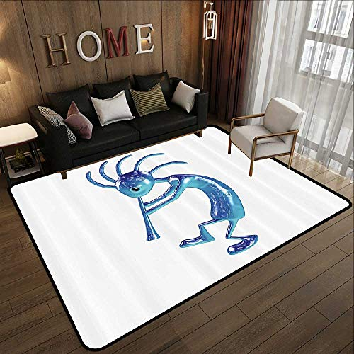 "Rugs for Sale,Kokopelli Decor Collection,Kokopelli with Flute Trickster Vintage Aboriginal Tribe Art Ornament Illustration,Turquoise B 63""x 94"" Kitchen Mat"