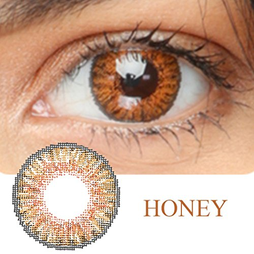 Women Multi-Color Colored Cute Charm and Attractive Fashion Contact Lenses Cosmetic Makeup Eye Shadow (Type 1, Honey) -