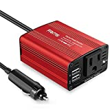 Fantasi Car Power Inverter Car Charger 150W DC 12V to 110v AC Car Inverter with 3.1A Dual USB Charger (Red) (Red)