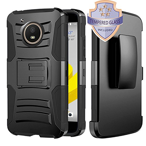 Moto E4 Case, HJ Power[TM] For Motorola Moto E4/XT1767 (Verizon, Sprint, Boost Mobile)--Hybrid H Stand Holster Case Black With Tempered Glass Screen Protector (Window Phones For Boost Mobile)