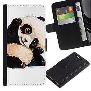Planetar® Modelo colorido cuero carpeta tirón caso cubierta piel Holster Funda protección Sony Xperia Z3 Compact / Z3 Mini (Not Z3) ( Cute Baby Panda Bear Kids Children'S )