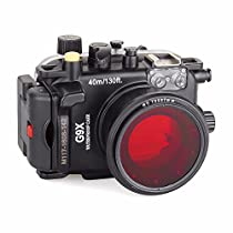 EACHSHOT 40m/130ft Underwater Diving Camera Housing for Canon G9X + 67mm Red Filter