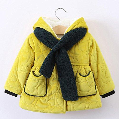 Omiky® Baby-Jungen-Mädchen-Herbst-Winter-mit Kapuze Mantel-Mantel-starke warme Kleidung Gelb