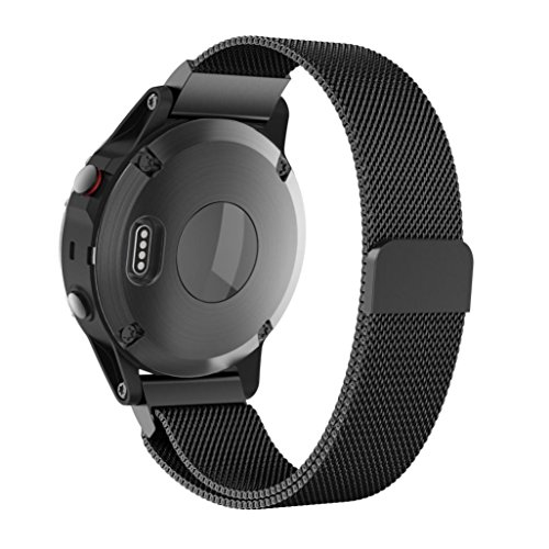 Price comparison product image Owill Milanese Magnetic Loop Stainless Steel Wirstband for Garmin Fenix 5 Plus,  Fits 6.69-10.63 inches Wrist (Black)