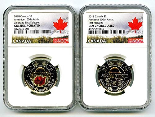 2018 CANADA $2 WWI ARMISTICE POPPY TOONIE FIRST RELEASES TWO COIN SET MATCHED CERT # NGC GEM UNC