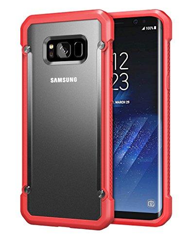 MoKo Samsung Galaxy S8 Funda - Ultra Slim Cubierta de Estilo Escarabajo Armadura Rígida Dura Anti-Choque / Anti-Rasguños PC Shell Back Case Cover Ligero para Galaxy S8 Smartphone SÓLO, Claro & Rojo Claro & Rojo
