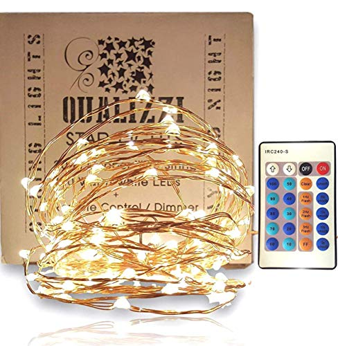 QUALIZZI Starry Lights with Remote Control/Dimmable (33 Feet /100 LEDs). Very Pretty Bright Fairy Light Lights on LED Copper Wire Indoor String Lights. Enjoy Magic Decorative Garlands All Year Around