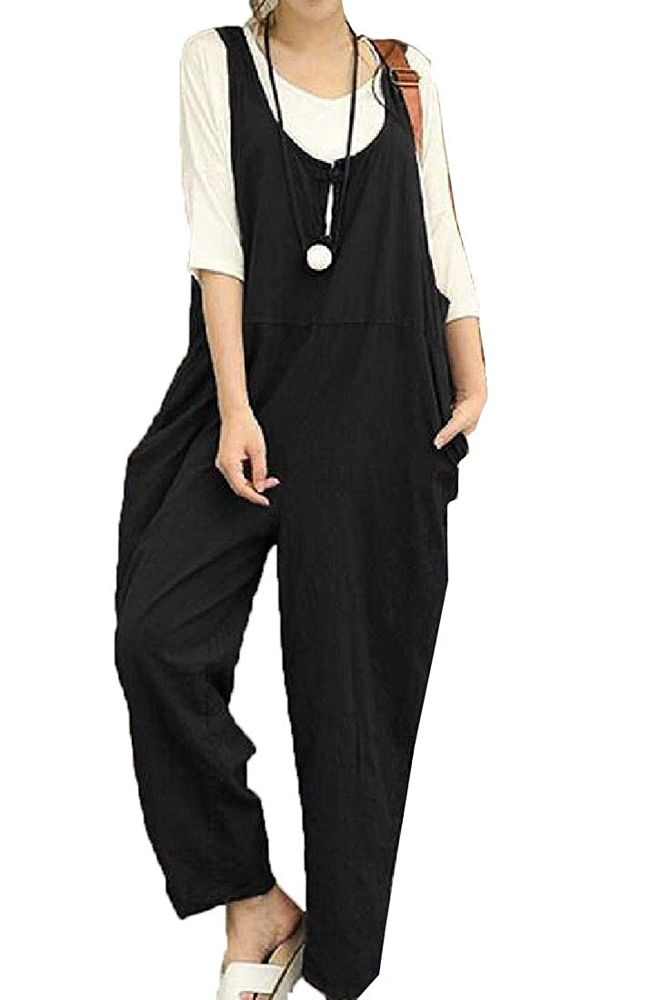 Yayu Womens Loose Plus Size Casual Pockets Solid Overalls Black XL