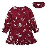 ALLAIBB Baby Girl Kids Retro Princess Dress Long Sleeve Flower Ruffle Birthday Dress Headband Size 2T (Red)