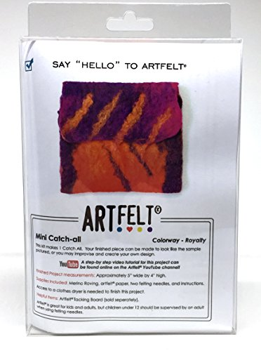 Artfelt Say Hello Needle Felting Kit Mini Catch-All Purse Red Orange Purple for Business by Art Felt