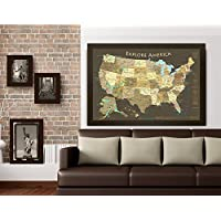 Amazoncom Gifts For The Traveler Handmade Products - Large framed us map