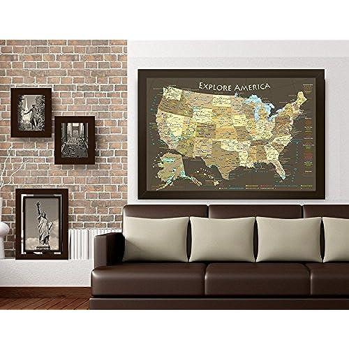 US National Parks Map Amazoncom - Large framed us map
