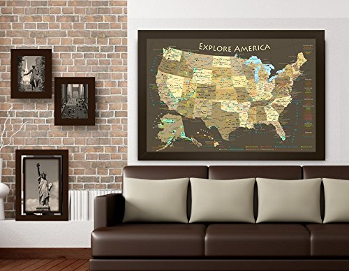 National Parks Map and USA Map - Explore America Map - Large Framed Push Pin Map - Brown Edition - Includes 100 map pins by GeoJango