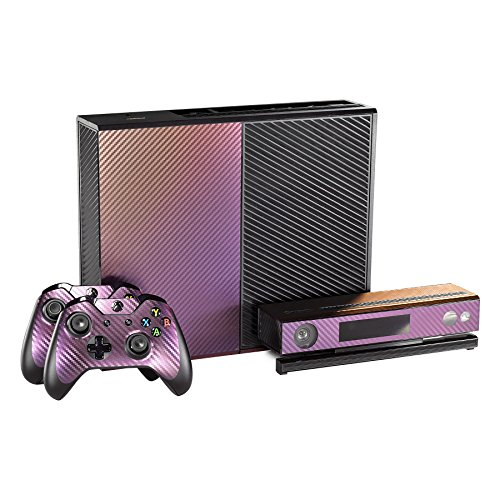 eXtremeRate Purple and Gold Chameleon Full Faceplates Personalized Skin Decal Wraps Covers for Microsoft Xbox One Console Controller Kinect