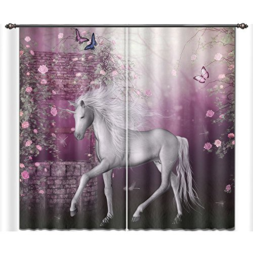 Garden Block Rose China (LB Teen Kids Room Darkening Blackout Window Curtains for Living Room Bedroom,Unicorn in Rose Garden Window Treatment 3D Window Drapes 2 Panels Set,42 x 84 Inches)