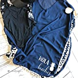 Hola Beaches Swimsuit Cover Up- Pineapple Gift Idea For Her Cover Up Hola Beaches Gift For Girlfriend Wife Navy & White Pompom Swim Cover Up