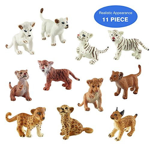 Toymany 11 Wildlife Cubs Figurines, High Emulational Detailed Cute Baby Animals Figure, Assorted Lions Tigers Cheetahs Lynx Figurines Toy Set - Lion Cub Figurine