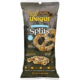 Unique Pretzels - Extra Salt Splits Pretzels, Delicious Vegan Snack Pretzels with Extra Salt, Large OU Kosher Pretzels Individual Pack, 11 Oz Bags, 12 Pack